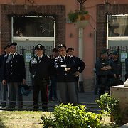 The town of Battipaglia in the South of Italy has been put on a standstill by police, military, security personnel because one of the leading figures of Forza Italia (right party) was having a meeting at Battipaglia's Town Hall. The local population has sent petitions for the meeting to be cancelled but their request denied.