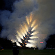 A Silver Fern firework display before the New Zealand V Fiji Rugby Union test match at Carisbrook, Dunedin. New Zealand. 22nd July 2011. Photo Tim Clayton