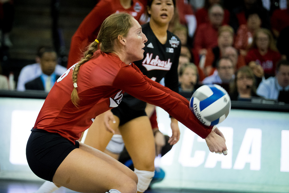 OMAHA, NE - DECEMBER 19: Outside hitter Kadie Rolfzen #6 of the Nebraska during their NCAA finals match against the Texas at the CenturyLink Center on December 19, 2015 in Omaha, Nebraska.  (Photo by Eric Francis)