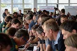Riders receiving their race packs during the pre race events held at the V&A Waterfront in Cape Town prior to the start of the 2017 Absa Cape Epic Mountain Bike stage race held in the Western Cape, South Africa between the 19th March and the 26th March 2017<br /> <br /> Photo by Emma Hill/Cape Epic/SPORTZPICS<br /> <br /> PLEASE ENSURE THE APPROPRIATE CREDIT IS GIVEN TO THE PHOTOGRAPHER AND SPORTZPICS ALONG WITH THE ABSA CAPE EPIC<br /> <br /> ace2016