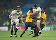 Twickenham, Great Britain,    Jonny MAY, run comes to an end, during the Pool A game, England vs Australia.  2015 Rugby World Cup, Venue, RFU Stadium, Twickenham, Surrey, ENGLAND.  Saturday  03/10/2015<br /> Mandatory Credit; Peter Spurrier/Intersport-images]