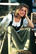 France, Salon-de-Provence, Renaissance Festival, Girl in period dress.