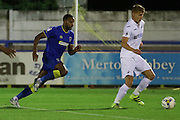 AFC Wimbledon striker Tyrone Barnett (23) closes in during the EFL Trophy match between AFC Wimbledon and U23 Swansea City at the Cherry Red Records Stadium, Kingston, England on 30 August 2016. Photo by Stuart Butcher.