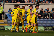 Goal, Oxford United celebrate Jerome Sinclair of Oxford United goal, Oxford United 1-1 Wycombe Wanderers during the EFL Sky Bet League 1 match between Oxford United and Wycombe Wanderers at the Kassam Stadium, Oxford, England on 30 March 2019.