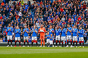 Rangers players and fans pay their respects with a minutes applause for Billy McNeill who passed away earlier this week ahead of the Ladbrokes Scottish Premiership match between Rangers and Aberdeen at Ibrox, Glasgow, Scotland on 27 April 2019.