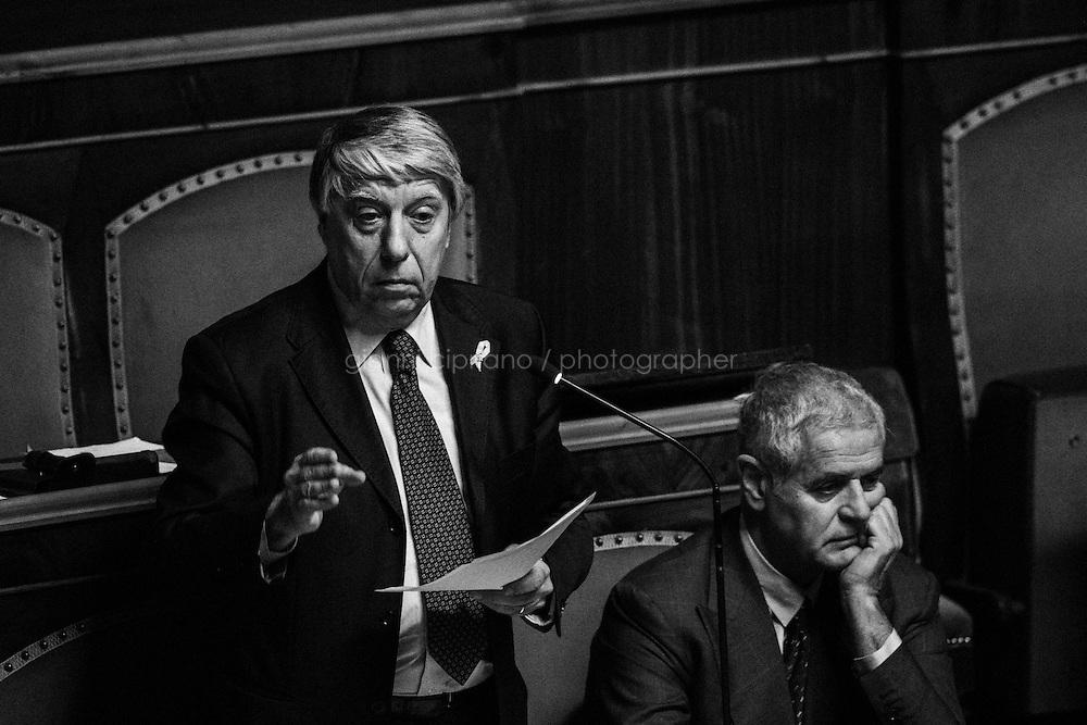 ROME, ITALY - 27 November 2013: L'assemblea del Senato si riunisce per l'approvazione della proposta della Giunta<br /> delle elezioni e delle immunita` parlamentari<br /> (mancata convalida dell&rsquo;elezione), a Roma il 27 novembre 2013.