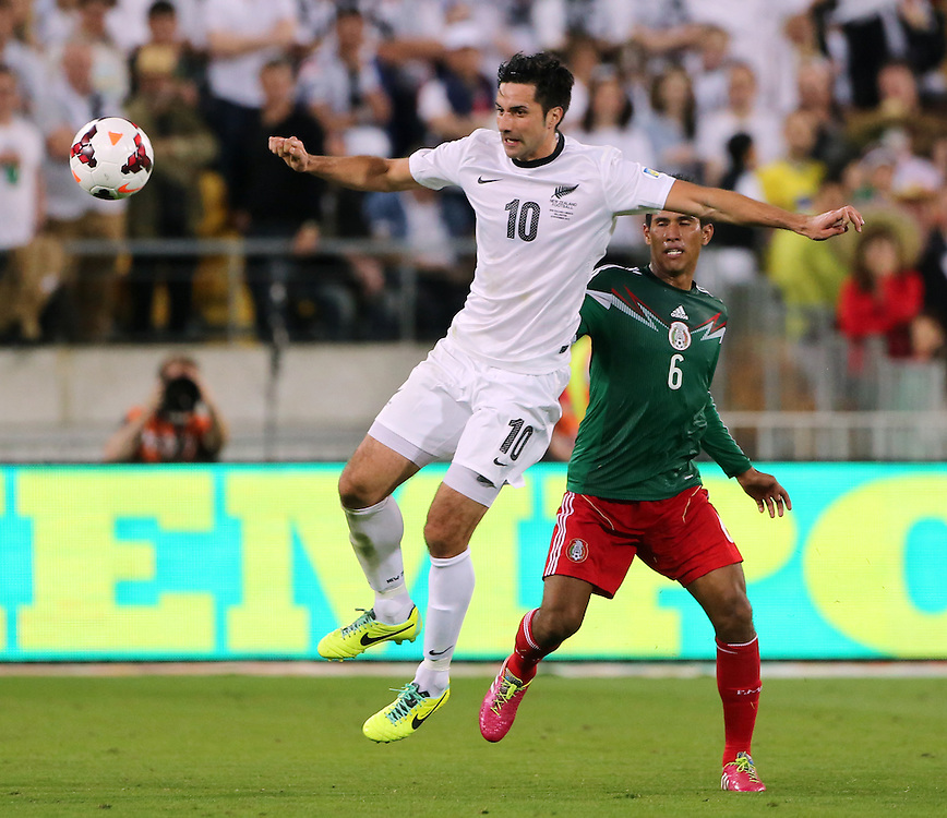 New Zealand's Rory Fallon against Mexico in the World Cup Football qualifier, Westpac Stadium, Wellington, New Zealand, Wednesday, November 20, 2013. Cedit:SNPA / John Cowpland