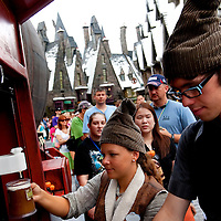 ORLANDO, FL -- May 29, 2010 -- Butterbeer, a non-alcoholic drink, is served at The Wizarding World of Harry Potter at Universal Orlando in Orlando, Fla., on Saturday, May 29, 2010.  The 20-acre park features a new ride inside the Hogwarts Castle, shops along the village of Hogsmeade, and is scheduled to officially open on June 18.