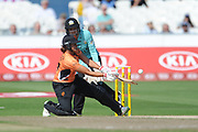 Suzie Bates of Southern Vipers plays a ramp shot during the Women's Cricket Super League match between Southern Vipers and Surrey Stars at the 1st Central County Ground, Hove, United Kingdom on 14 August 2018.