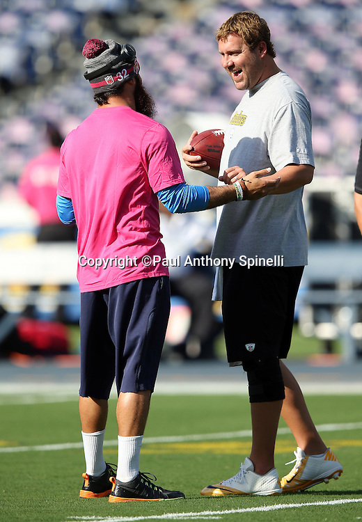 (L-R) San Diego Chargers free safety Eric Weddle (32) talks to Pittsburgh Steelers quarterback Ben Roethlisberger (7) before the 2015 NFL week 5 regular season football game against the Pittsburgh Steelers on Monday, Oct. 12, 2015 in San Diego. The Steelers won the game 24-20. (©Paul Anthony Spinelli)