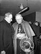 19/03/1961<br /> 03/19/1961<br /> 19 March 1961<br /> Papal Legate Cardinal James Francis McIntyre from Los Angeles departing from Dublin Airport having been in Ireland for the Patrician year celebrations that were held to commemorate 1,500 years of devotion to St Patrick in Ireland. Here Archbishop John Charles McQuaid of Dublin (left) has a last discussion with the Cardinal before his departure.