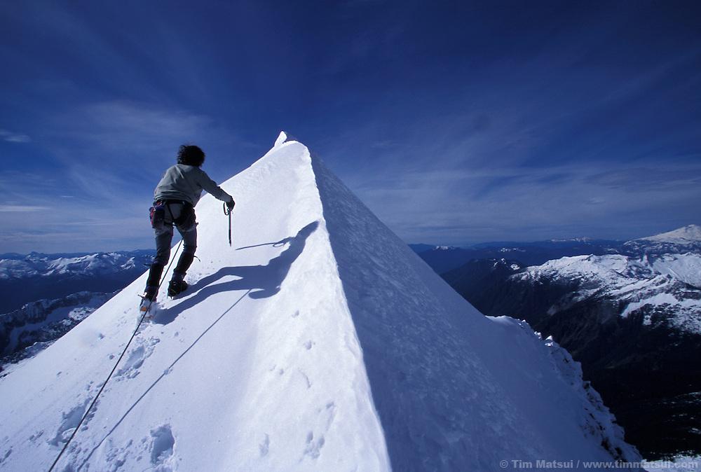 Colin Haley on the summit ridge of El Dorado Peak in the North Cascades National Park.