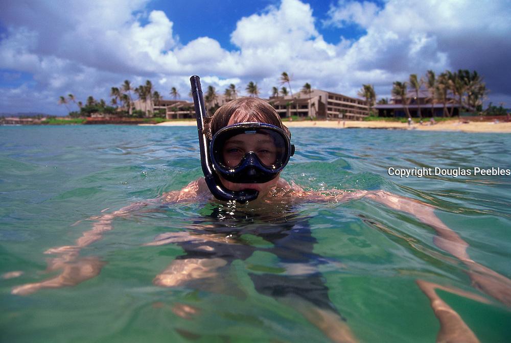 Boy snorkling, Hawaii<br />