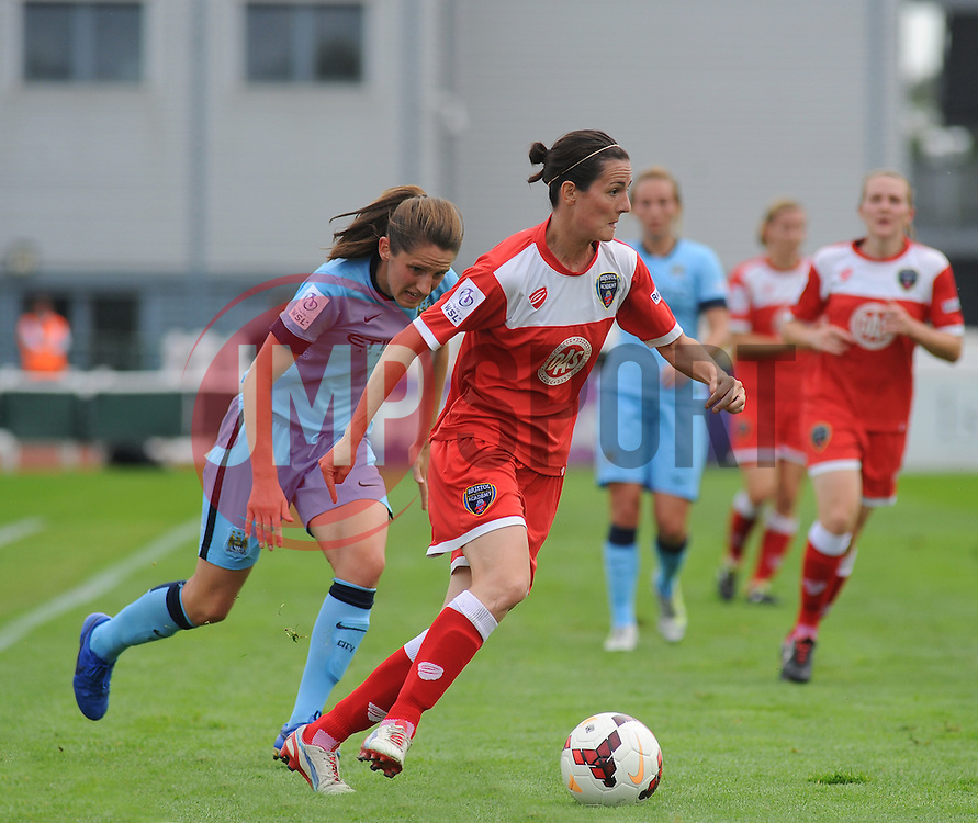 Bristol Academy Womens' Natalia Pablos Sanchon takes control of ball possession. - Photo mandatory by-line: Nizaam Jones- Mobile: 07583 387221 - 28/09/2014 - SPORT - Women's Football - Bristol - SGS Wise Campus - BAWFC v Man City Ladies - sport