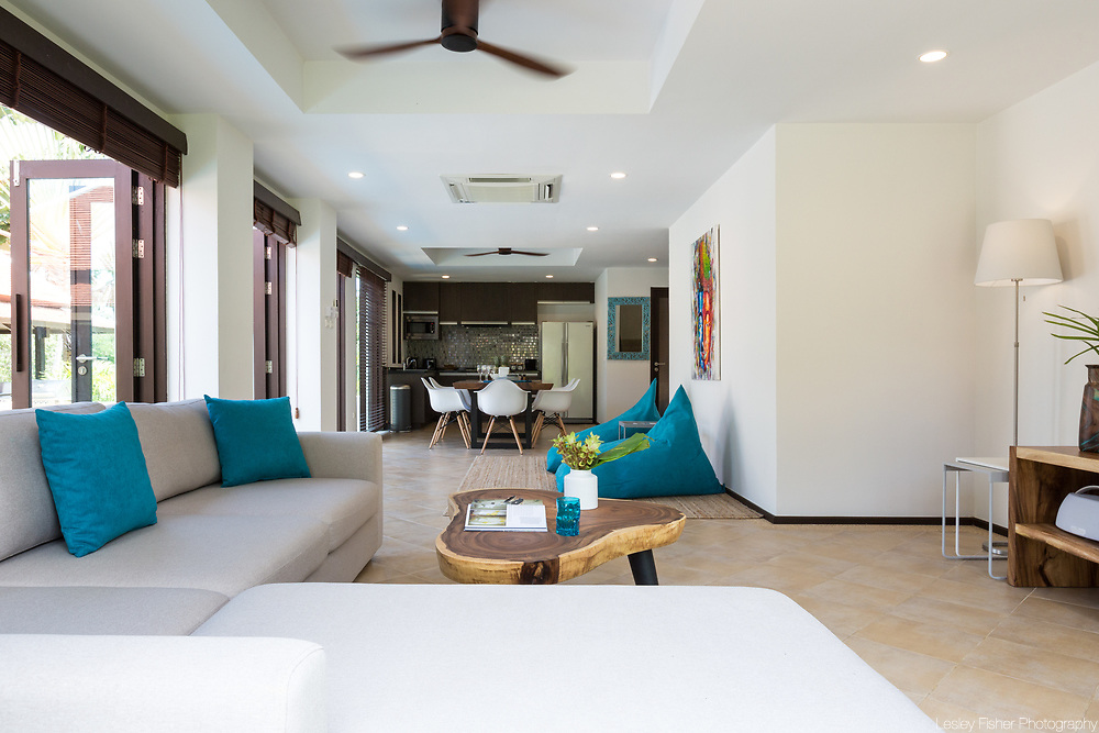 Living room at Villa Divina, a private and luxury 3 bedroom villa located in Plumeria Place, a private residence in Bang Rak, Koh Samui, Thailand