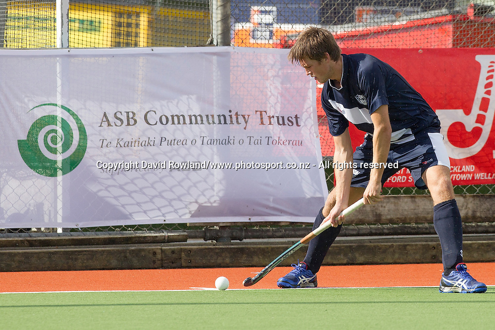 Auckland`s Marcus Child prepares t take a corner shot in the Auckland v Southern Men`s semi-final match, Ford National Hockey League, North Harbour Hockey Stadium, Auckland, New Zealand,Saturday, September 13, 2014. Photo: David Rowland/Photosport
