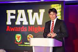 CARDIFF, WALES - Monday, October 6, 2014: Wales' manager Chris Coleman at the FAW Footballer of the Year Awards 2014 held at the St. David's Hotel. (Pic by David Rawcliffe/Propaganda)