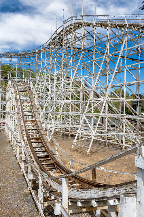 The highs and lows of the trackwork and lattice-like supports on the antique wooden Skyliner roller coaster at Lakemont Park in Altoona, PA.