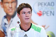 Kamil Majchrzak during press conference before tennis tournament Pekao Szczecin Open 2013 in Pekao Bank in Warsaw..<br /> <br /> Poland, Warsaw, September 09, 2013<br /> <br /> Picture also available in RAW (NEF) or TIFF format on special request.<br /> <br /> For editorial use only. Any commercial or promotional use requires permission.<br /> <br /> Photo by &copy; Adam Nurkiewicz / Mediasport