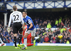 Everton's Kevin Mirallas celebrates his goal. - Photo mandatory by-line: Dougie Allward/JMP - Tel: Mobile: 07966 386802 23/11/2013 - SPORT - Football - Liverpool - Merseyside derby - Goodison Park - Everton v Liverpool - Barclays Premier League