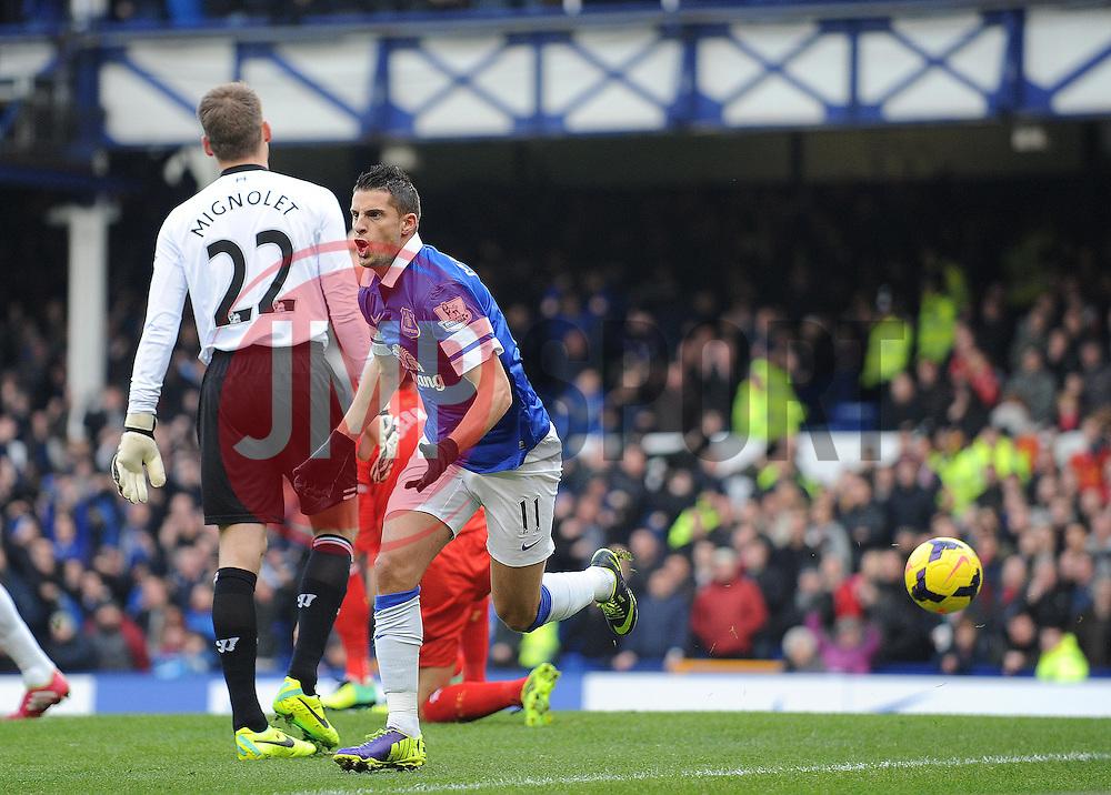 Everton's Kevin Mirallas celebrates his goal. - Photo mandatory by-line: Dougie Allward/JMP - Tel: Mobile: 07966 386802 23/11/2013 - SPORT - Football - Liverpool - Merseyside derby - Goodison Park - Everton v Liverpool - Barclays Premier League
