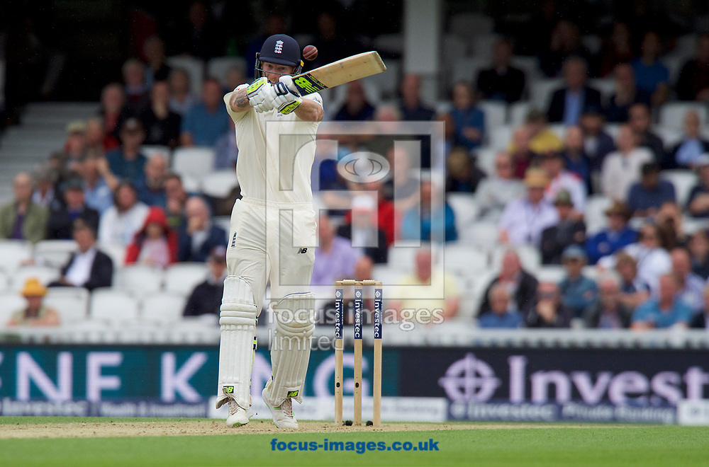 Ben Stokes of England takes a high ball during the 100th Investec Test Match match at the Kia Oval, London<br /> Picture by Alan Stanford/Focus Images Ltd +44 7915 056117<br /> 28/07/2017