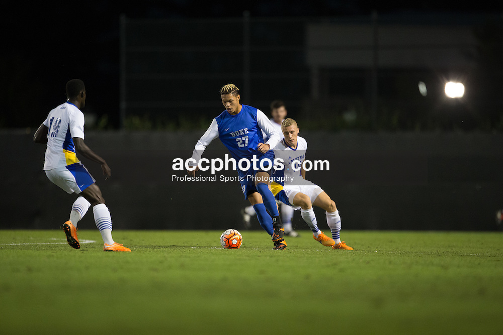 2015 October 05: Macario Hing-Glover #27 of the Duke Blue Devils during a 3-2 overtime win over the Hofstra Pride at Koskinen Stadium in Durham, NC.