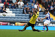 Craig Conway of Blackburn Rovers has a shot under pressure from Ben Turner of Burton Albion during the EFL Sky Bet Championship match between Blackburn Rovers and Burton Albion at Ewood Park, Blackburn, England on 20 August 2016. Photo by Simon Brady.