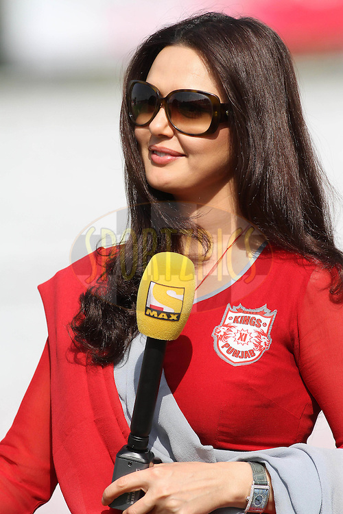 Kings XI Punjab owner Preity Zinta during match 9 of the Indian Premier League ( IPL ) Season 4 between the Kings XI Punjab and the Chennai Super Kings held at the PCA stadium in Mohali, Chandigarh, India on the 13th April 2011..Photo by Shaun Roy/BCCI/SPORTZPICS