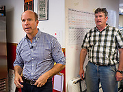 23 MAY 2019 - DES MOINES, IOWA: Congressman JOHN DELANEY (D-MD), tours the Iowa Food Cooperative in Des Moines. He toured the co-op to help understand how Iowa farmers are finding new markets. Delaney is running to be the Democratic nominee for the US Presidency in the 2020 election and has visited all 99 of Iowa's counties. Iowa traditionally hosts the the first election event of the presidential election cycle. The Iowa Caucuses will be on Feb. 3, 2020.                         PHOTO BY JACK KURTZ