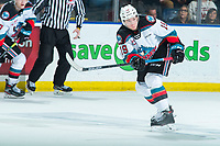KELOWNA, BC - JANUARY 24: Ethan Ernst #19 of the Kelowna Rockets completes a pass against the Seattle Thunderbirds at Prospera Place on January 24, 2020 in Kelowna, Canada. (Photo by Marissa Baecker/Shoot the Breeze)