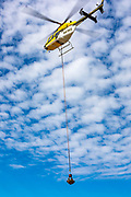 Demonstration flight of the Vita Inclinata Load Stabilizing System (LSS) at Atlanta's Dekalb Peachtree Airport, during the 2019 Heli Expo.