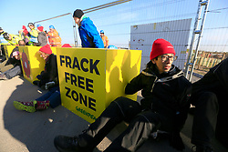 UK ENGLAND BLACKPOOL 3MAY17 - Greenpeace protesters block the entrance to Cuadrilla's Preston New Road fracking site near Blackpool  in Lancashire, northern England.<br /> <br /> The campaigners  intend to stop preparation works for the first UK frack site for gas, after the government overruled the local council decision to reject planning permission.<br /> <br /> <br /> <br /> jre/Photo by Jiri Rezac / Greenpeace<br /> <br /> <br /> <br /> © Jiri Rezac 2017