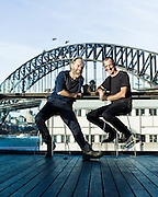 Actor Hugo Weaving with his friend artist Nicholas Harding in Sydney