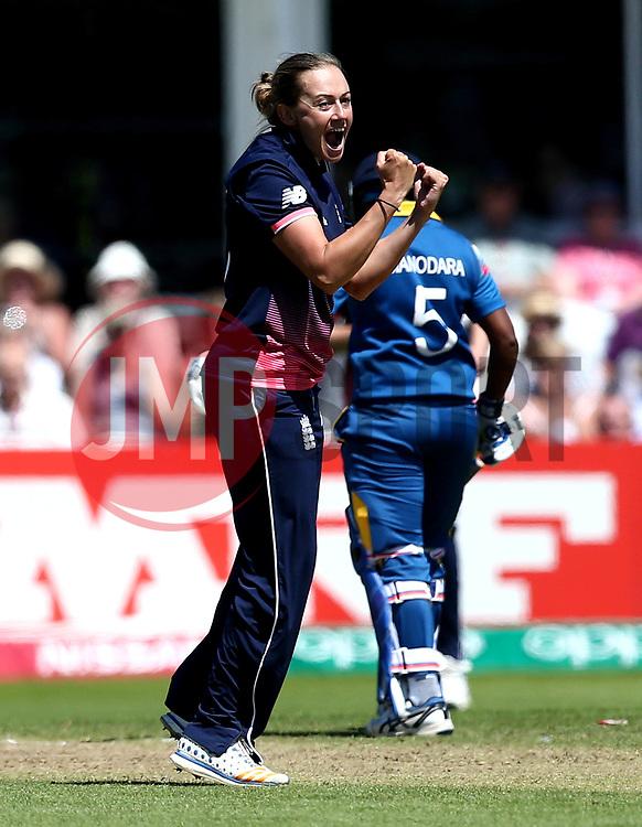 Laura Marsh of England Women celebrates taking the wicket of Harshitha Madhavi of Sri Lanka Women - Mandatory by-line: Robbie Stephenson/JMP - 02/07/2017 - CRICKET - County Ground - Taunton, United Kingdom - England Women v Sri Lanka Women - ICC Women's World Cup Group Stage