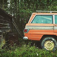alaska, old orange family car parked in the woods