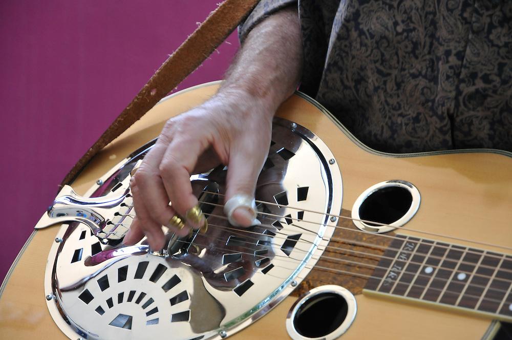 Steel guitar closeup during Manzanita Bluegrass jam session at the 2011 Tucson Folk Festival. Event photography by Martha Retallick.