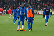 Blackpool's Viv Solomon-Otabor and Blackpool's Colin Daniel warming up during the EFL Sky Bet League 1 match between Fleetwood Town and Blackpool at the Highbury Stadium, Fleetwood, England on 25 November 2017. Photo by Paul Thompson.