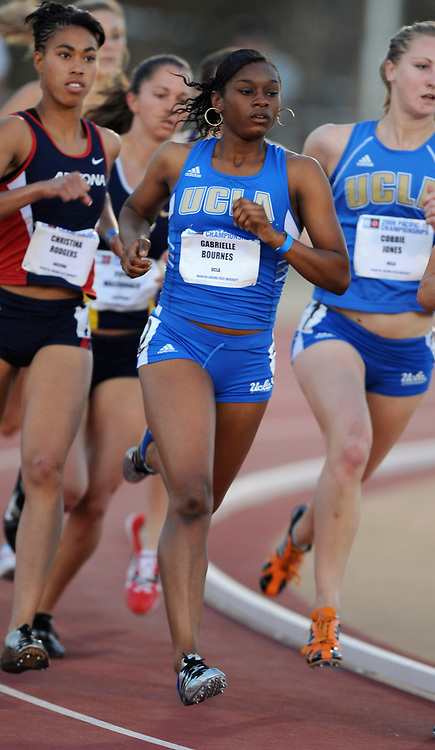May 16, 2008; Tempe, AZ, USA; Gabrielle Bournes of UCLA timed 2:13.44 in women's 800m heat in the Pac-10 championships at Arizona State's Sun Angel Stadium.