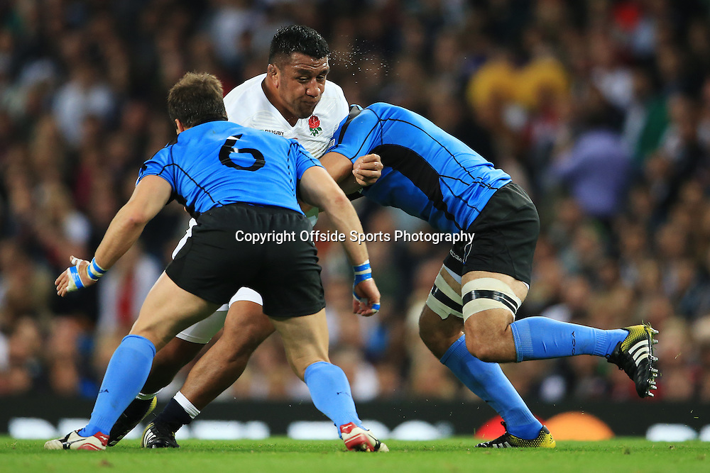 10th October 2015 - Rugby World Cup (Pool A) - England v Uruguay - Mako Vunipola of England runs into a tackle - Photo: Simon Stacpoole / Offside.
