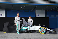 (L to R): Nico Rosberg (GER) Mercedes AMG F1 and team mate Lewis Hamilton (GBR) Mercedes AMG F1 unveil the Mercedes AMG F1 W06.<br /> Formula One Testing, Day One, Sunday 1st February 2015. Jerez, Spain.