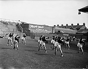 01/09/1959<br /> 09/01/1959<br /> 01 September 1959<br /> Scottish League team practice at Dalymount Park, Dublin before game against League of Ireland selection.