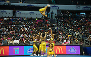 Bowie State University cheerleaders performed a high flying routine for the crowd.