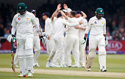 Pakistan's Haris Sohail walks off, out for 39, during day two of the First NatWest Test Series match at Lord's, London.