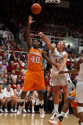 Dec 20, 2011; Stanford CA, USA;  Tennessee Lady Volunteers guard/forward Shekinna Stricklen (40) shoots past Stanford Cardinal forward Joslyn Tinkle (44) during the first half at Maples Pavilion.  Mandatory Credit: Jason O. Watson-US PRESSWIRE