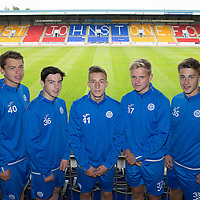 New recruits to St Johnstone FC's U20's for the 2016-17 season, pictured from left, Joe Johnson, Cameron Thomson, Jamie Docherty, Ali McCann and Cammy Lumsden<br />Picture by Graeme Hart.<br />Copyright Perthshire Picture Agency<br />Tel: 01738 623350  Mobile: 07990 594431