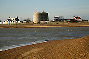 Mouth of the River Deben from Bawdsey, Suffolk, England martello tower at Felixstowe Ferry