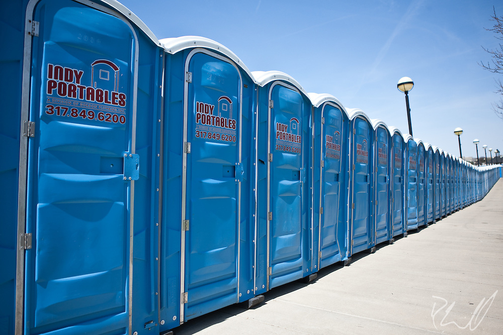 Port-a-potties lined up and ready for the masses in Indianapolis, IN during the ESPN Big Dance Concert Series for the NCAA Final Four Tournament
