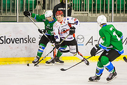 Tomazevic Blaz of HDD Jesenice and Ulamec Luka of HK SZ Olimpija during Hockey match between SZ HD Olimpija and HDD Jesenice in 4tht match of Quarterfinals of Alps Hockey League, on March 13, 2018 in Hala Tivoli, Ljubljana, Slovenia. Photo by Ziga Zupan / Sportida