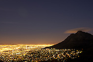 Nightscape of Cape Town, South Africa.  View is from Lion's Head, overlooking Devil's Peak.